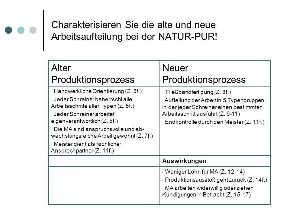 Charakterisieren Sie die alte und neue Arbeitsaufteilung bei der NATUR-PUR! Alter Produktionsprozess Neuer Produktionsprozess - Handwerkliche Orientie