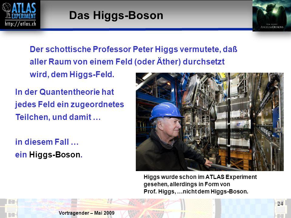 Vortragender – Mai 2009 24 Das Higgs-Boson Der schottische Professor Peter Higgs vermutete, daß aller Raum von einem Feld (oder Äther) durchsetzt wird, dem Higgs-Feld.