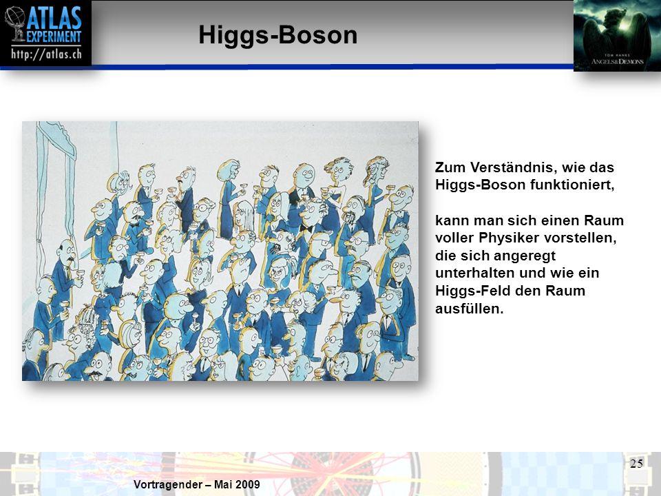 Vortragender – Mai 2009 25 Higgs-Boson Zum Verständnis, wie das Higgs-Boson funktioniert, kann man sich einen Raum voller Physiker vorstellen, die sich angeregt unterhalten und wie ein Higgs-Feld den Raum ausfüllen.