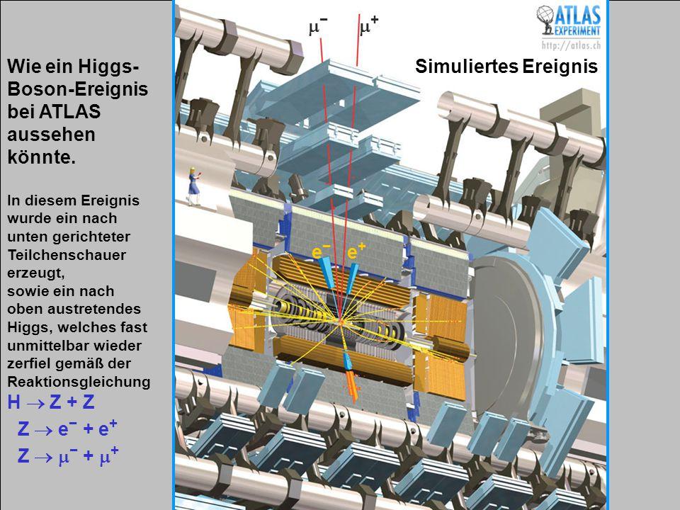 Vortragender – Mai 2009 27 Wie ein Higgs- Boson-Ereignis bei ATLAS aussehen könnte. In diesem Ereignis wurde ein nach unten gerichteter Teilchenschaue