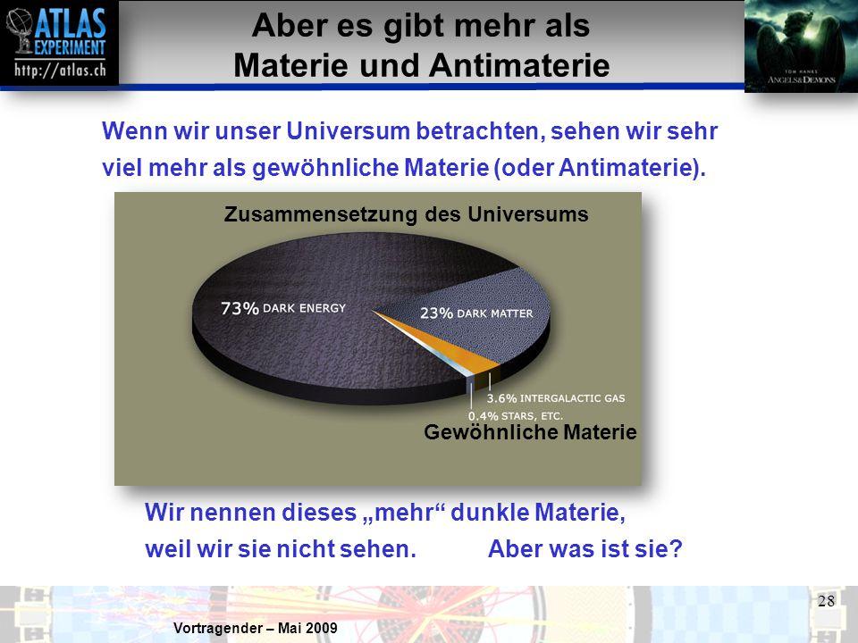 Vortragender – Mai 2009 28 Aber es gibt mehr als Materie und Antimaterie Wenn wir unser Universum betrachten, sehen wir sehr viel mehr als gewöhnliche Materie (oder Antimaterie).