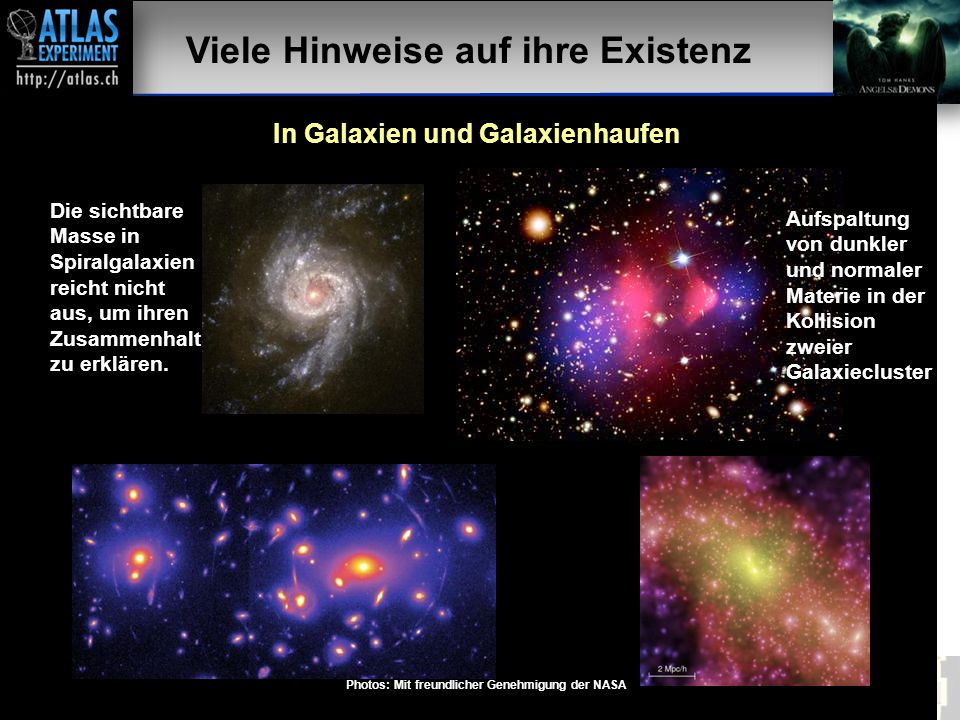 Vortragender – Mai 2009 30 Viele Hinweise auf ihre Existenz In Galaxien und Galaxienhaufen Die sichtbare Masse in Spiralgalaxien reicht nicht aus, um ihren Zusammenhalt zu erklären.