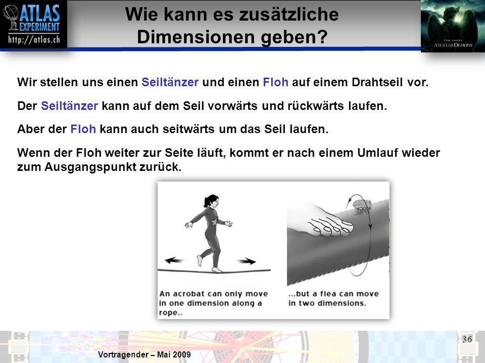 Vortragender – Mai 2009 36 Wir stellen uns einen Seiltänzer und einen Floh auf einem Drahtseil vor.
