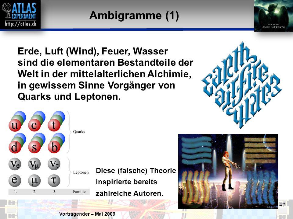 Vortragender – Mai 2009 47 Ambigramme (1) Erde, Luft (Wind), Feuer, Wasser sind die elementaren Bestandteile der Welt in der mittelalterlichen Alchimie, in gewissem Sinne Vorgänger von Quarks und Leptonen.