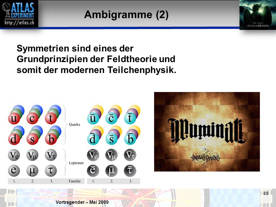 Vortragender – Mai 2009 48 Ambigramme (2) Symmetrien sind eines der Grundprinzipien der Feldtheorie und somit der modernen Teilchenphysik.