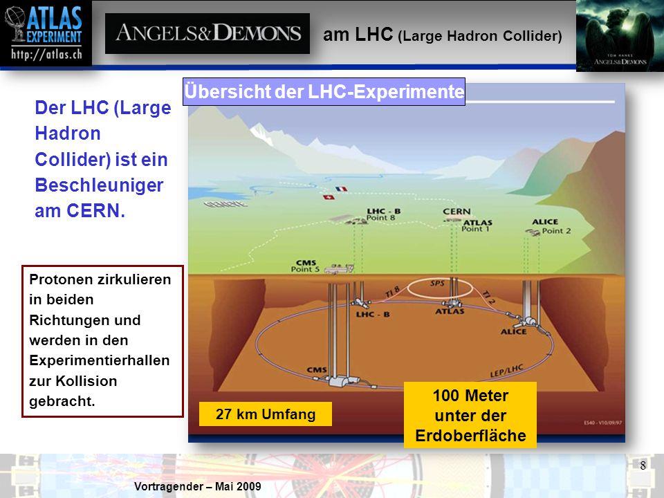 Vortragender – Mai 2009 8 Der LHC (Large Hadron Collider) ist ein Beschleuniger am CERN. 100 Meter unter der Erdoberfläche Protonen zirkulieren in bei
