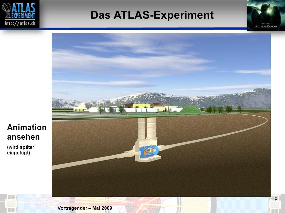 Vortragender – Mai 2009 9 Das ATLAS-Experiment Animation ansehen (wird später eingefügt)