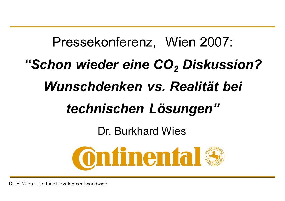 """Dr. B. Wies - Tire Line Development worldwide Dr. Burkhard Wies Pressekonferenz, Wien 2007: """"Schon wieder eine CO 2 Diskussion? Wunschdenken vs. Reali"""