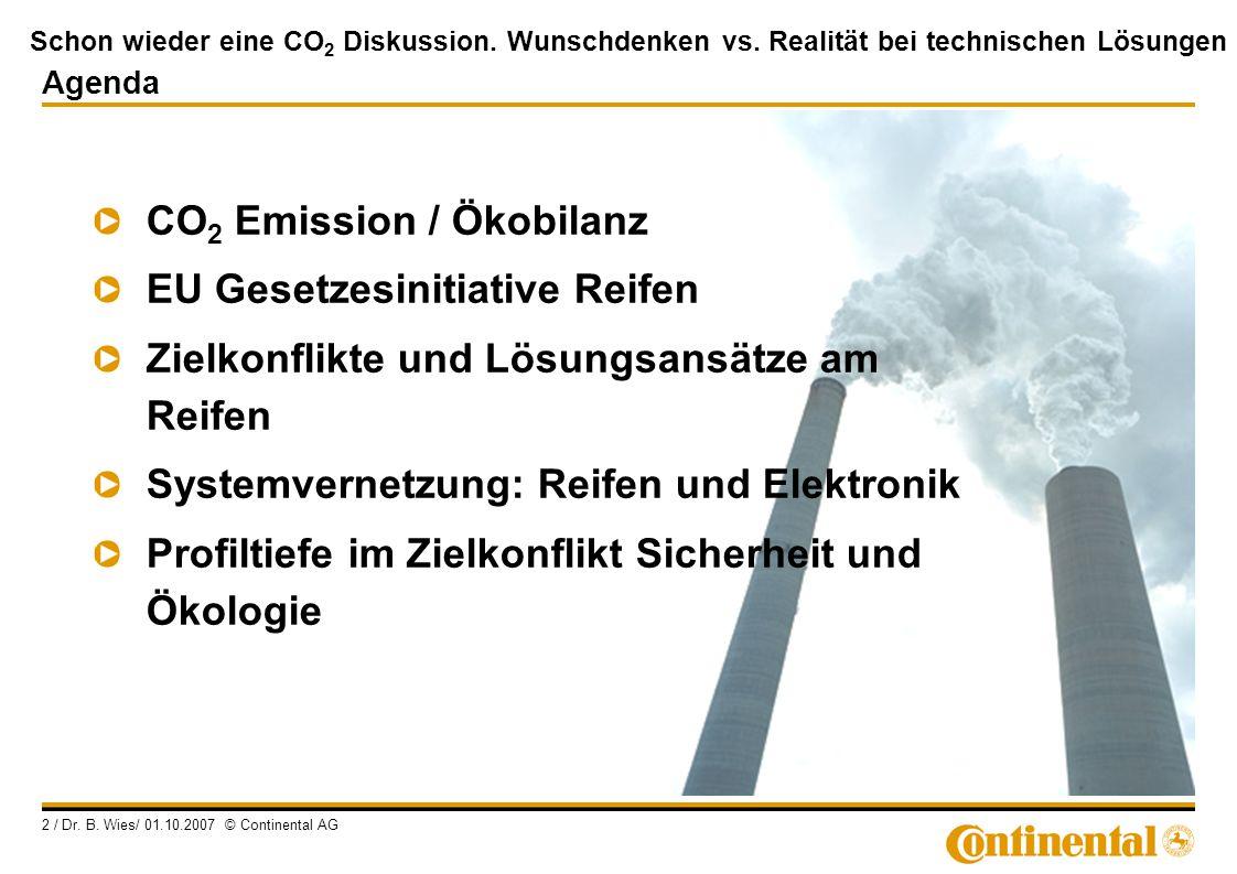 Schon wieder eine CO 2 Diskussion. Wunschdenken vs. Realität bei technischen Lösungen 2 / Dr. B. Wies/ 01.10.2007 © Continental AG Agenda CO 2 Emissio