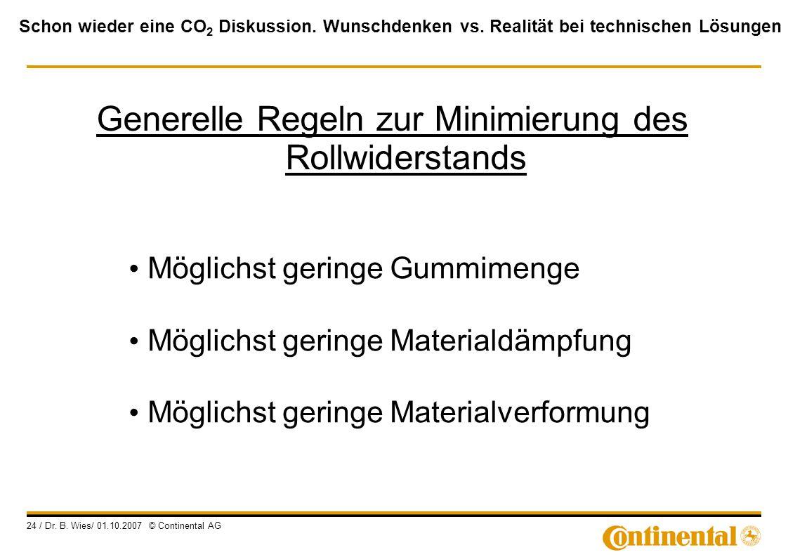 Schon wieder eine CO 2 Diskussion. Wunschdenken vs. Realität bei technischen Lösungen 24 / Dr. B. Wies/ 01.10.2007 © Continental AG Möglichst geringe
