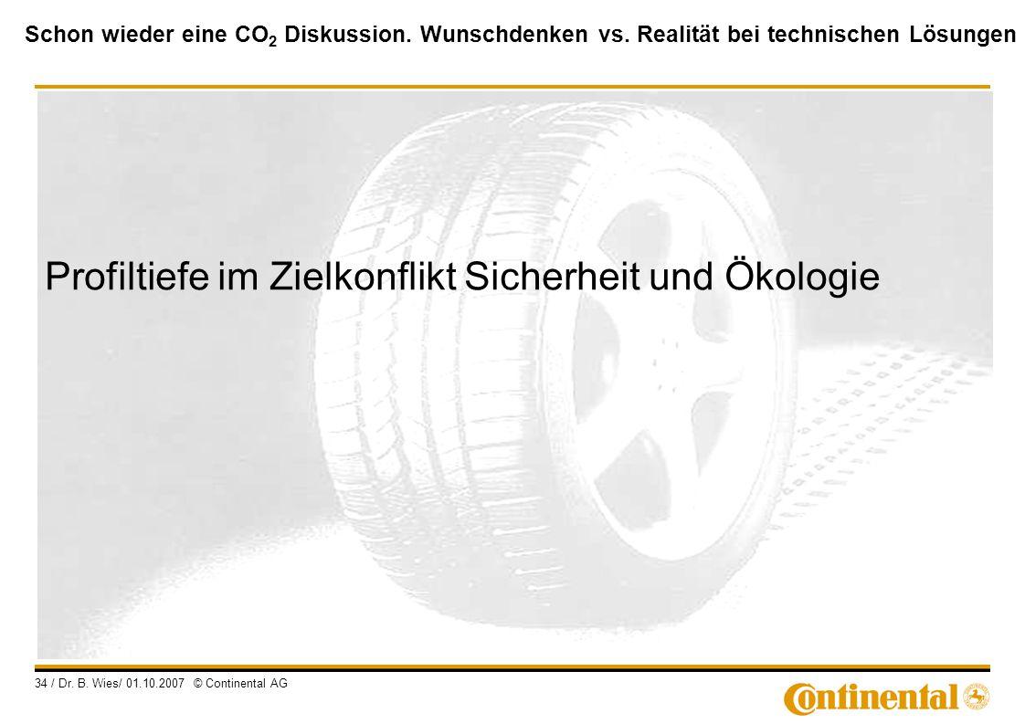 Schon wieder eine CO 2 Diskussion. Wunschdenken vs. Realität bei technischen Lösungen 34 / Dr. B. Wies/ 01.10.2007 © Continental AG Profiltiefe im Zie