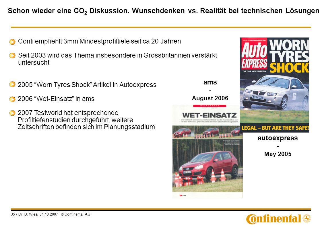 Schon wieder eine CO 2 Diskussion. Wunschdenken vs. Realität bei technischen Lösungen 35 / Dr. B. Wies/ 01.10.2007 © Continental AG ams - August 2006