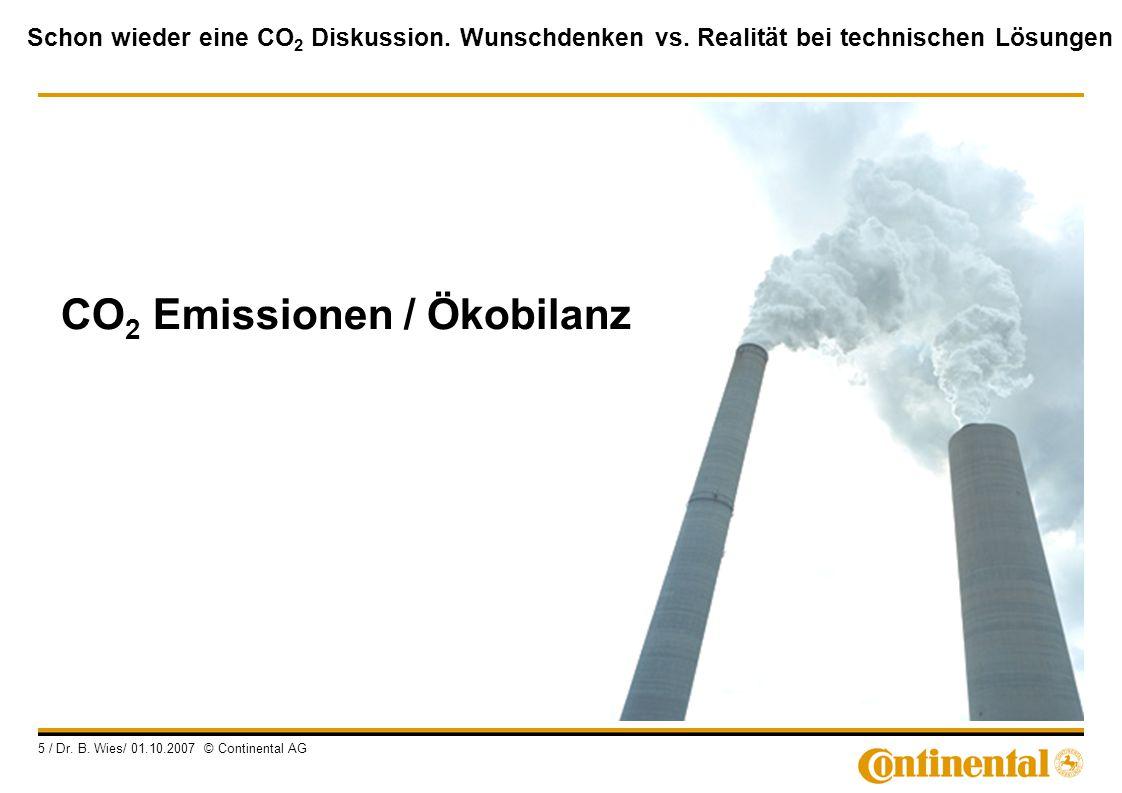 Schon wieder eine CO 2 Diskussion. Wunschdenken vs. Realität bei technischen Lösungen 5 / Dr. B. Wies/ 01.10.2007 © Continental AG CO 2 Emissionen / Ö