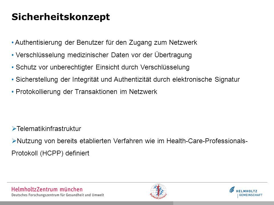 Sicherheitskonzept Authentisierung der Benutzer für den Zugang zum Netzwerk Verschlüsselung medizinischer Daten vor der Übertragung Schutz vor unberec