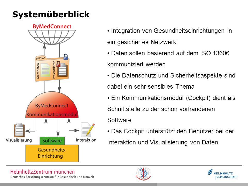 Systemüberblick Integration von Gesundheitseinrichtungen in ein gesichertes Netzwerk Daten sollen basierend auf dem ISO 13606 kommuniziert werden Die Datenschutz und Sicherheitsaspekte sind dabei ein sehr sensibles Thema Ein Kommunikationsmodul (Cockpit) dient als Schnittstelle zu der schon vorhandenen Software Das Cockpit unterstützt den Benutzer bei der Interaktion und Visualisierung von Daten