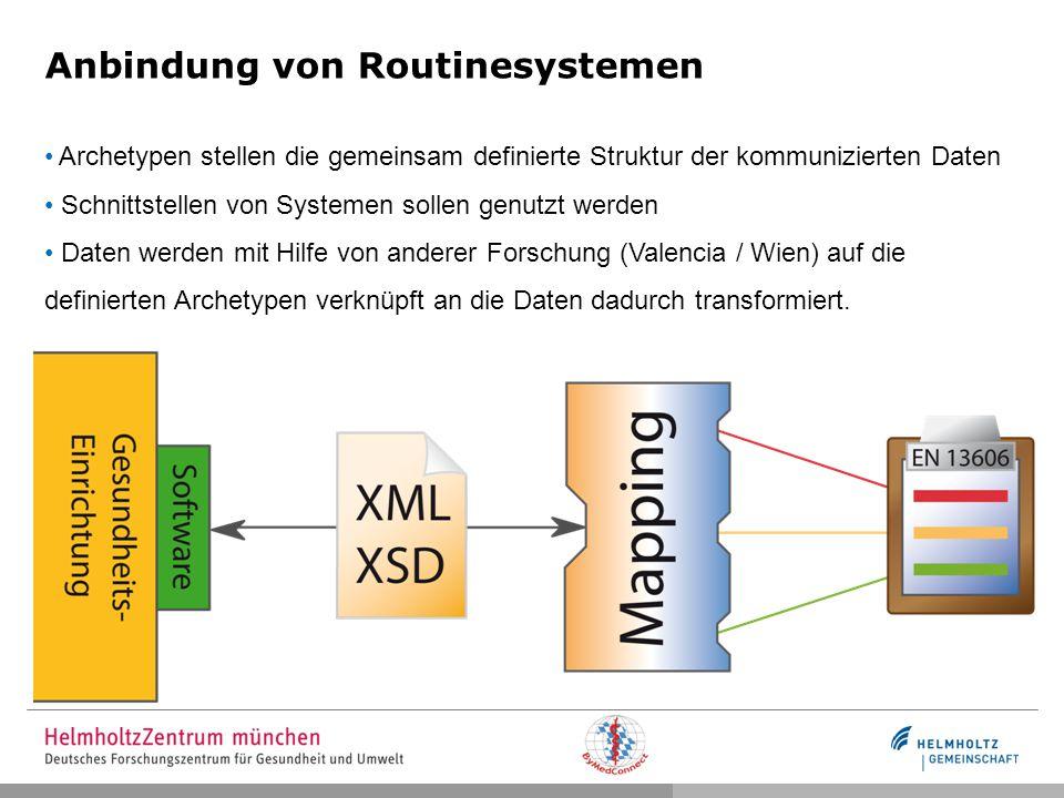 Anbindung von Routinesystemen Archetypen stellen die gemeinsam definierte Struktur der kommunizierten Daten Schnittstellen von Systemen sollen genutzt werden Daten werden mit Hilfe von anderer Forschung (Valencia / Wien) auf die definierten Archetypen verknüpft an die Daten dadurch transformiert.