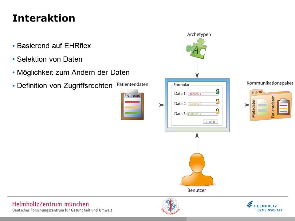 Interaktion Basierend auf EHRflex Selektion von Daten Möglichkeit zum Ändern der Daten Definition von Zugriffsrechten Basierend auf EHRflex Selektion