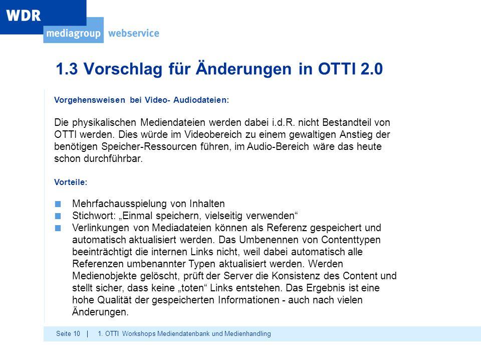 Seite 10 1.3 Vorschlag für Änderungen in OTTI 2.0 1. OTTI Workshops Mediendatenbank und Medienhandling Vorgehensweisen bei Video- Audiodateien: Die ph