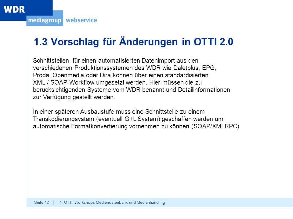 Seite 12 1.3 Vorschlag für Änderungen in OTTI 2.0 1. OTTI Workshops Mediendatenbank und Medienhandling Schnittstellen für einen automatisierten Dateni