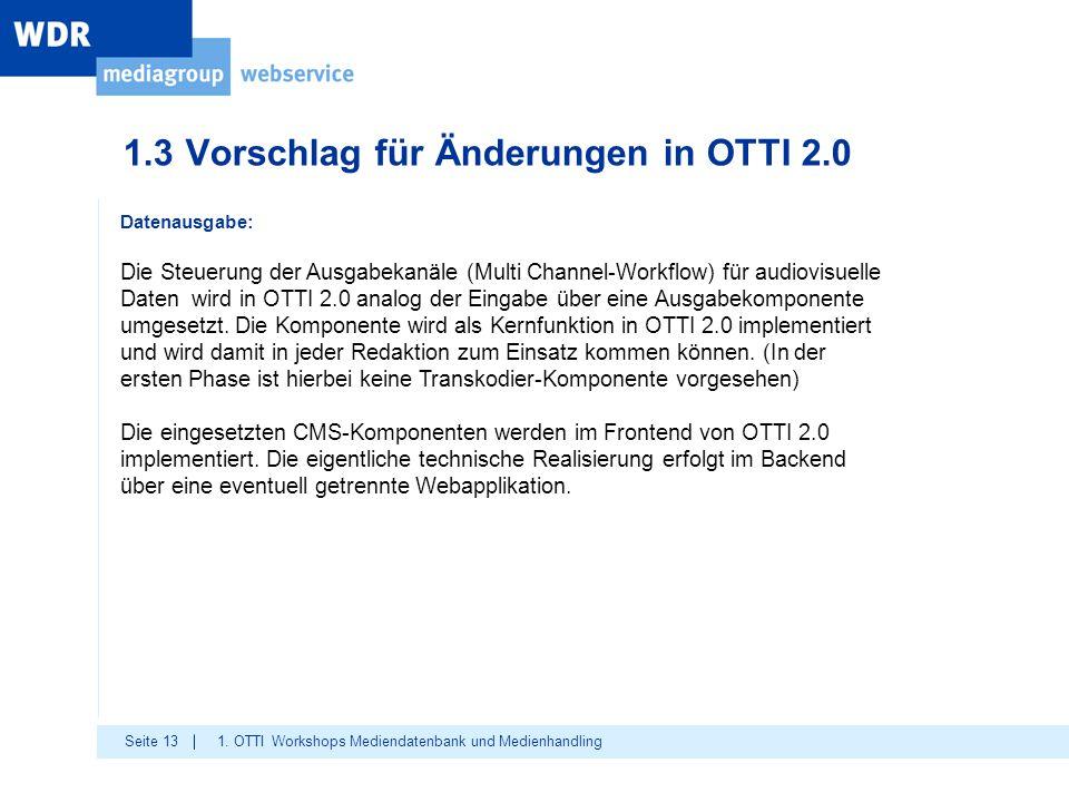 Seite 13 1.3 Vorschlag für Änderungen in OTTI 2.0 1. OTTI Workshops Mediendatenbank und Medienhandling Datenausgabe: Die Steuerung der Ausgabekanäle (