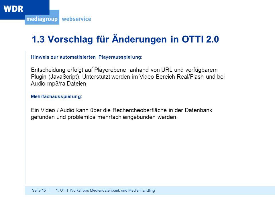 Seite 15 1.3 Vorschlag für Änderungen in OTTI 2.0 1. OTTI Workshops Mediendatenbank und Medienhandling Hinweis zur automatisierten Playerausspielung: