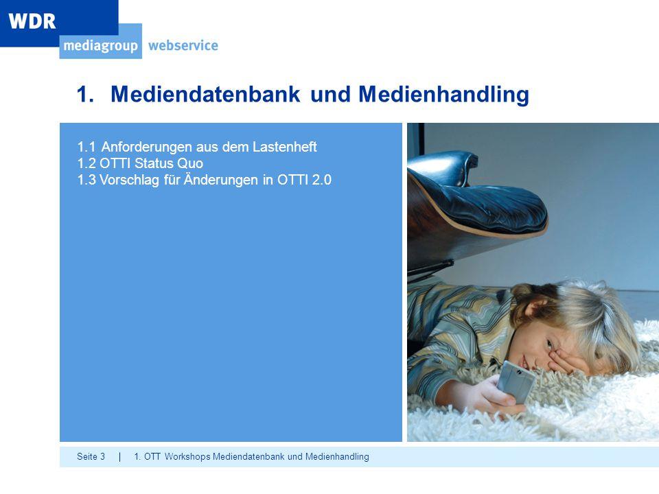 Seite 3 1.Mediendatenbank und Medienhandling 1. OTT Workshops Mediendatenbank und Medienhandling 1.1 Anforderungen aus dem Lastenheft 1.2 OTTI Status