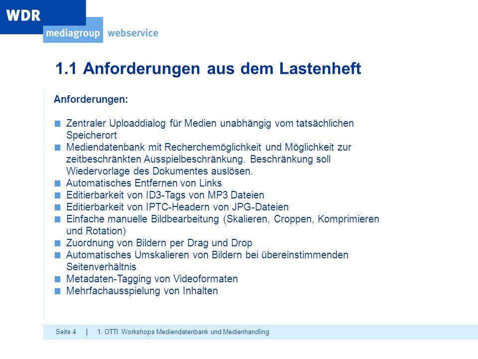 Seite 4 1.1 Anforderungen aus dem Lastenheft 1. OTTI Workshops Mediendatenbank und Medienhandling Anforderungen: ■ Zentraler Uploaddialog für Medien u