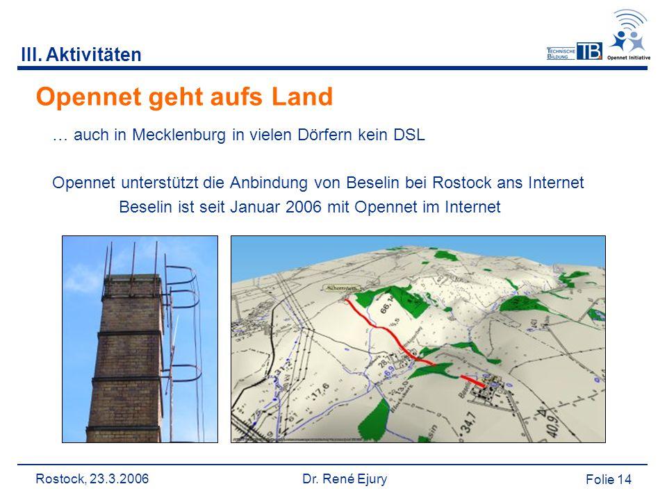 Rostock, 23.3.2006 Dr. René Ejury Folie 14 Opennet geht aufs Land … auch in Mecklenburg in vielen Dörfern kein DSL Opennet unterstützt die Anbindung v