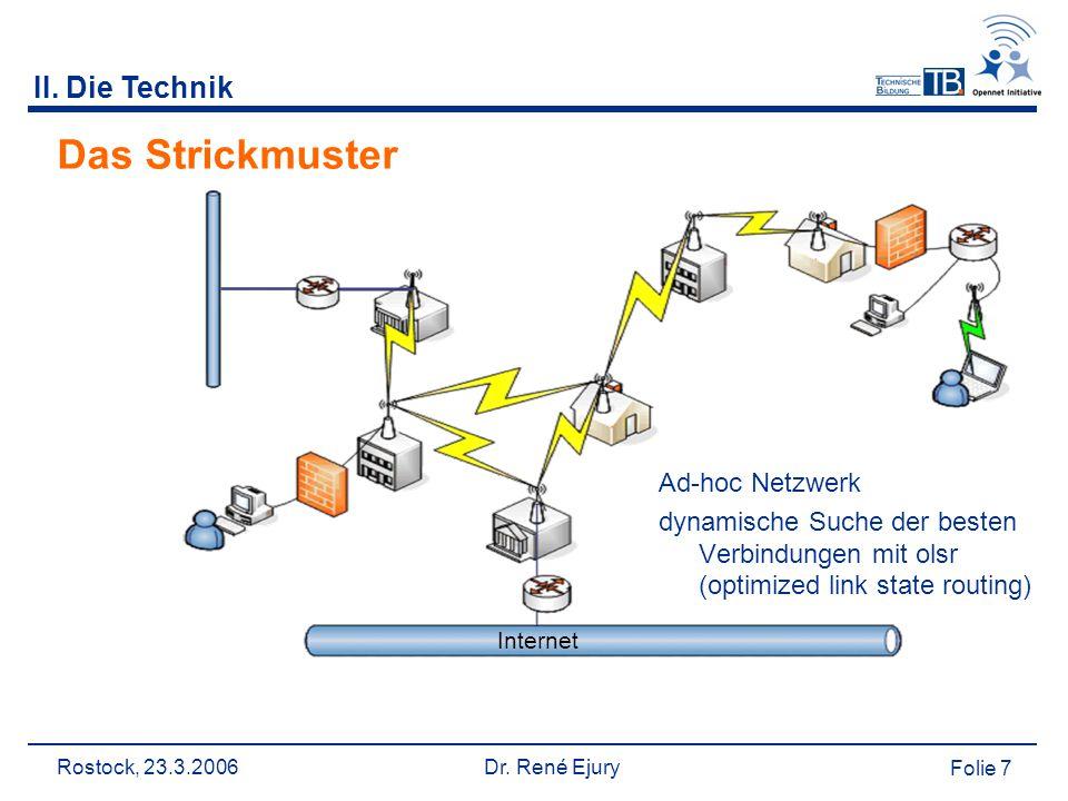 Rostock, 23.3.2006 Dr. René Ejury Folie 7 II. Die Technik Das Strickmuster Ad-hoc Netzwerk dynamische Suche der besten Verbindungen mit olsr (optimize
