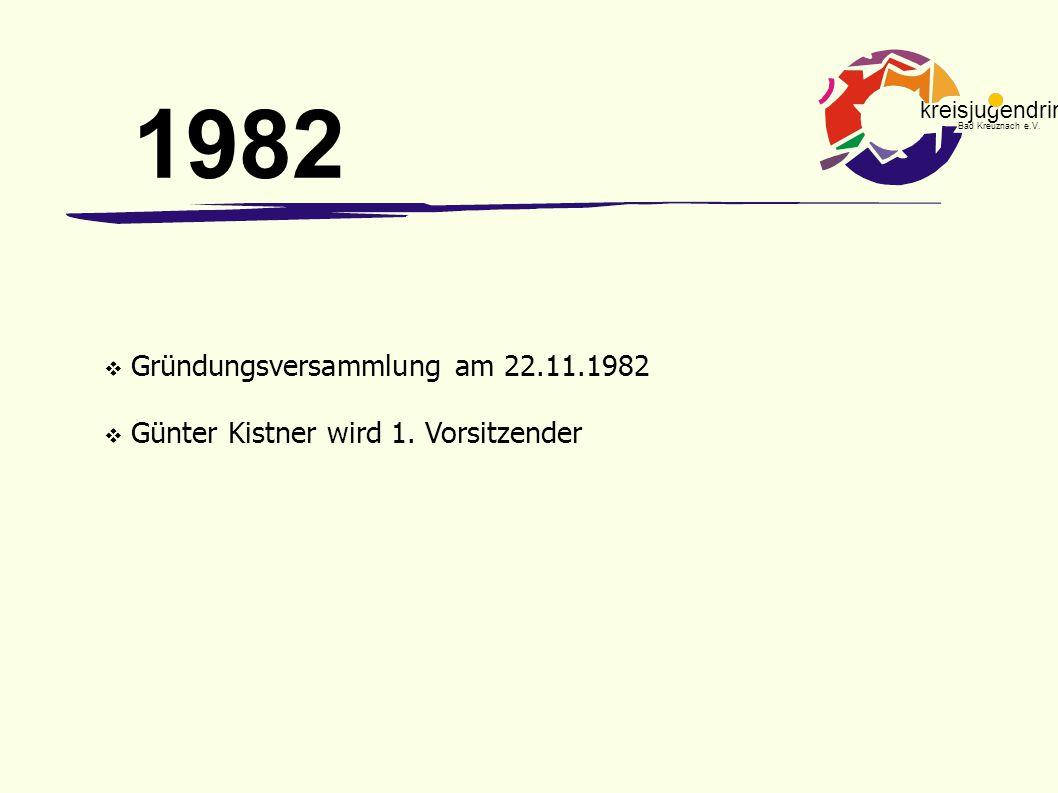kreisjugendring Bad Kreuznach e.V.  Gründungsversammlung am 22.11.1982  Günter Kistner wird 1. Vorsitzender 1982