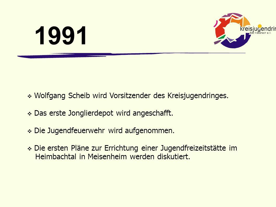 kreisjugendring Bad Kreuznach e.V.  Wolfgang Scheib wird Vorsitzender des Kreisjugendringes.  Das erste Jonglierdepot wird angeschafft.  Die Jugend