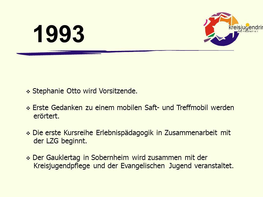 kreisjugendring Bad Kreuznach e.V.  Stephanie Otto wird Vorsitzende.  Erste Gedanken zu einem mobilen Saft- und Treffmobil werden erörtert.  Die er