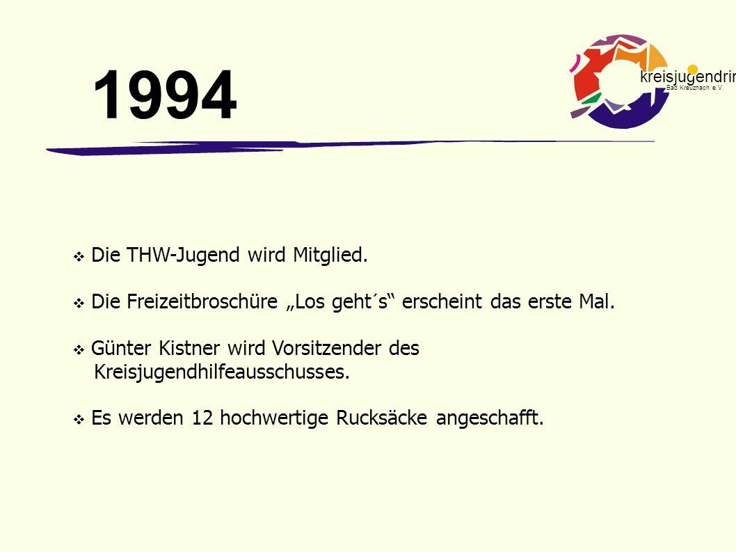 """kreisjugendring Bad Kreuznach e.V.  Die THW-Jugend wird Mitglied.  Die Freizeitbroschüre """"Los geht´s"""" erscheint das erste Mal.  Günter Kistner wird"""