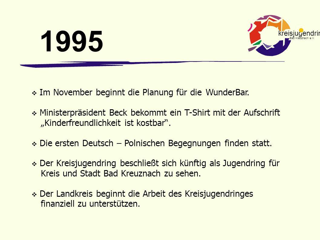 kreisjugendring Bad Kreuznach e.V.  Im November beginnt die Planung für die WunderBar.  Ministerpräsident Beck bekommt ein T-Shirt mit der Aufschrif