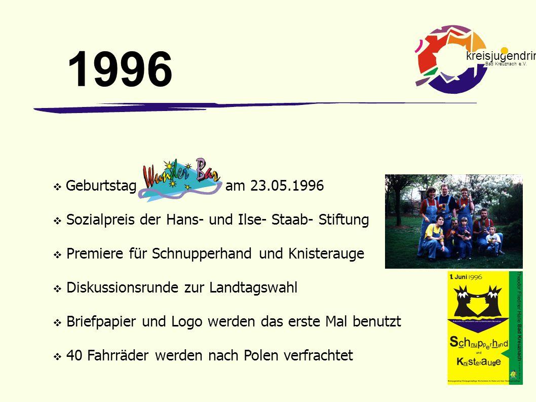 kreisjugendring Bad Kreuznach e.V.  Geburtstag am 23.05.1996  Sozialpreis der Hans- und Ilse- Staab- Stiftung  Premiere für Schnupperhand und Knist