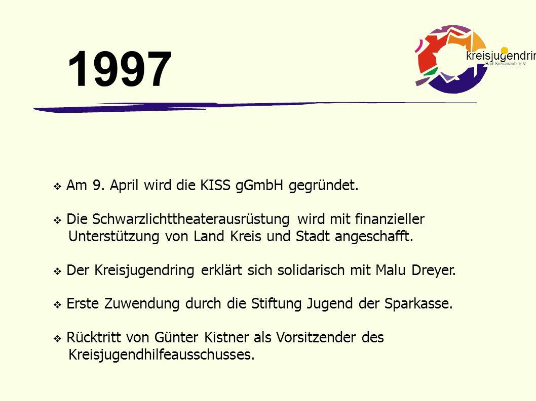 kreisjugendring Bad Kreuznach e.V.  Am 9. April wird die KISS gGmbH gegründet.  Die Schwarzlichttheaterausrüstung wird mit finanzieller Unterstützun