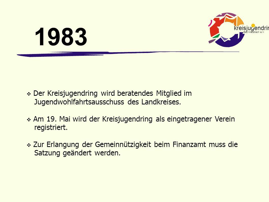 kreisjugendring Bad Kreuznach e.V.  Der Kreisjugendring wird beratendes Mitglied im Jugendwohlfahrtsausschuss des Landkreises.  Am 19. Mai wird der