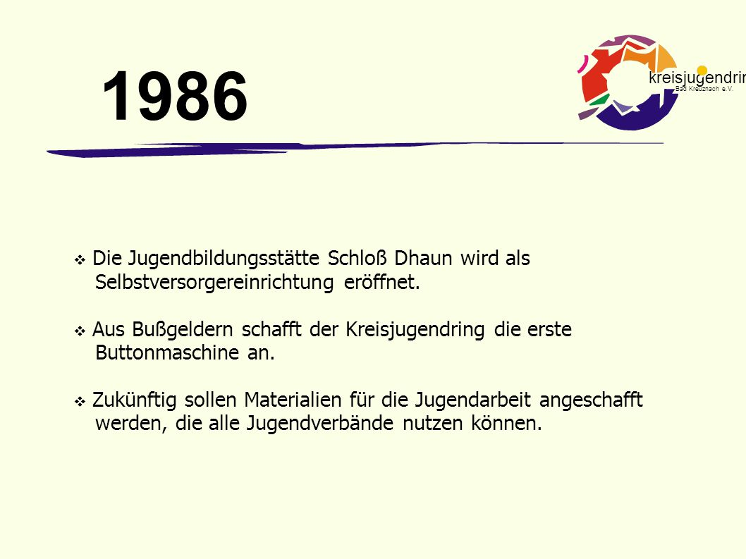 kreisjugendring Bad Kreuznach e.V.  Die Jugendbildungsstätte Schloß Dhaun wird als Selbstversorgereinrichtung eröffnet.  Aus Bußgeldern schafft der