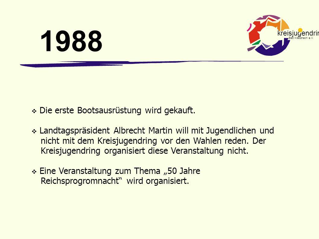 kreisjugendring Bad Kreuznach e.V.  Die erste Bootsausrüstung wird gekauft.  Landtagspräsident Albrecht Martin will mit Jugendlichen und nicht mit d