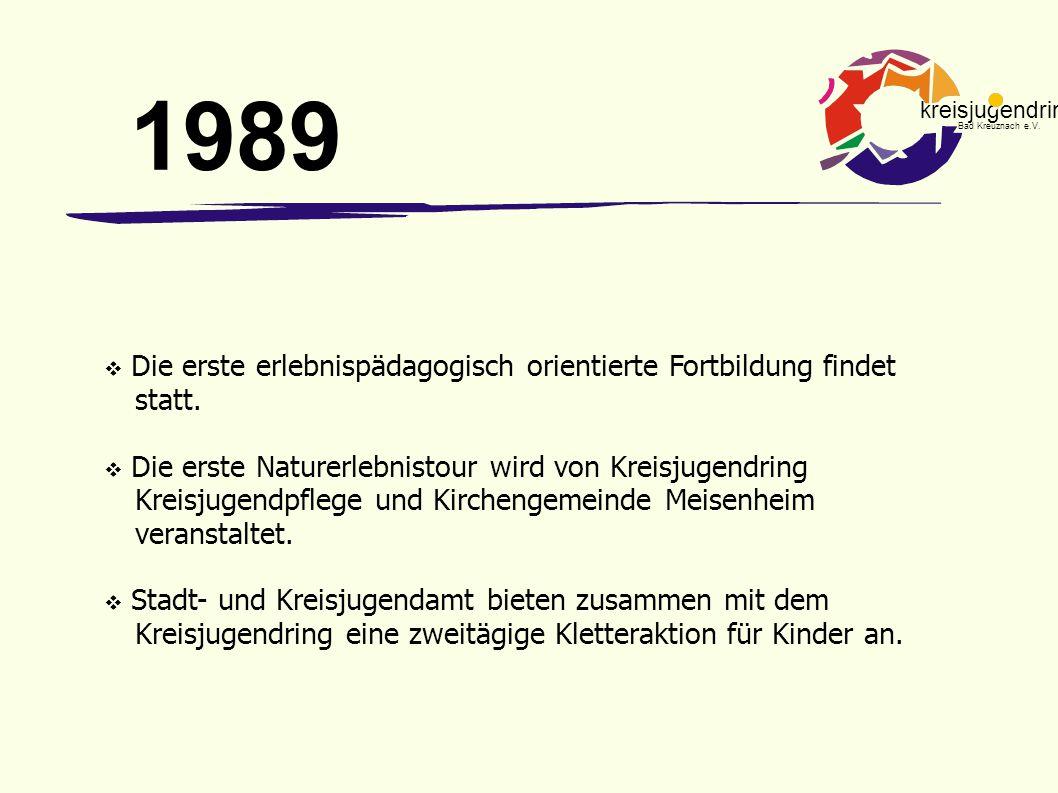 kreisjugendring Bad Kreuznach e.V.  Die erste erlebnispädagogisch orientierte Fortbildung findet statt.  Die erste Naturerlebnistour wird von Kreisj