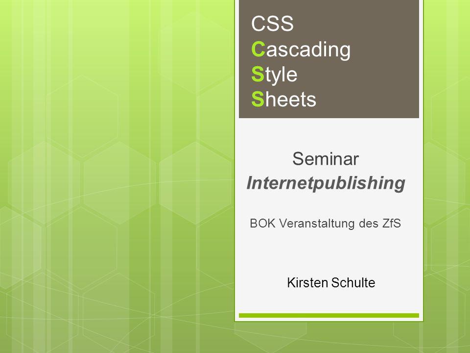 Kirsten Schulte CSS Cascading Style Sheets Seminar Internetpublishing BOK Veranstaltung des ZfS