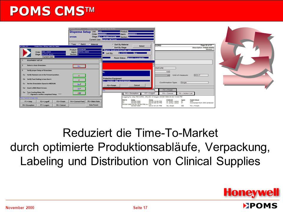 November 2000 Seite 17 POMS CMS Reduziert die Time-To-Market durch optimierte Produktionsabläufe, Verpackung, Labeling und Distribution von Clinical
