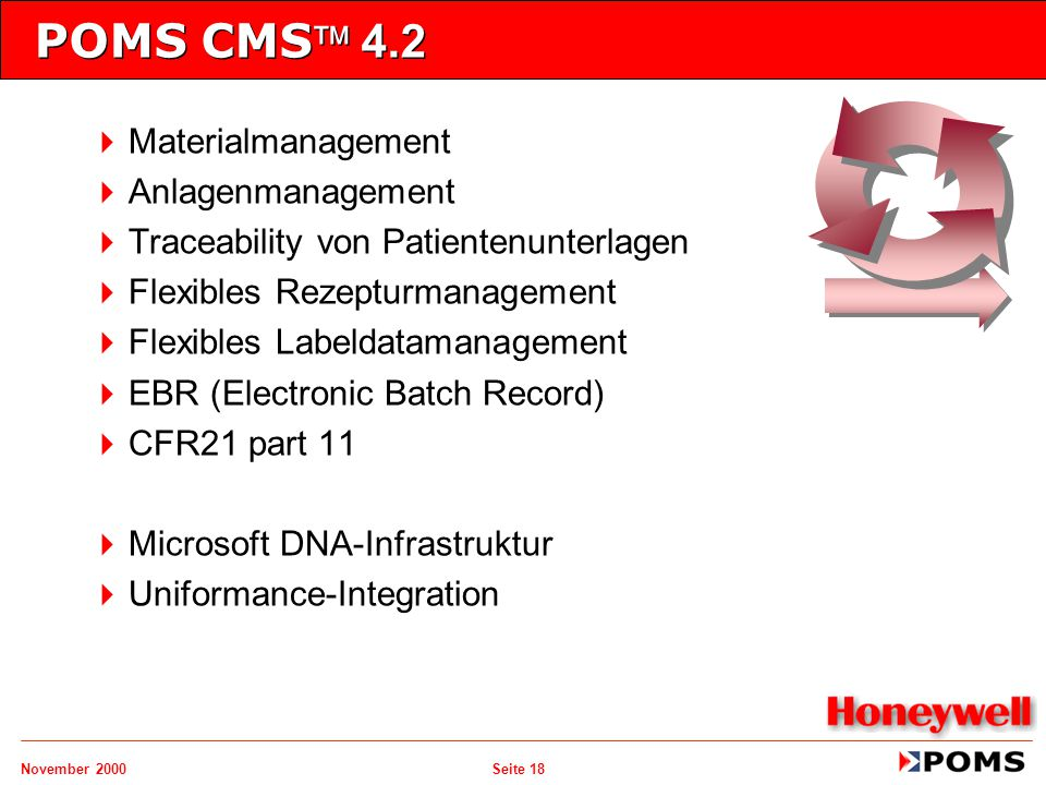 November 2000 Seite 18 POMS CMS 4.2   Materialmanagement   Anlagenmanagement   Traceability von Patientenunterlagen   Flexibles Rezepturmanag