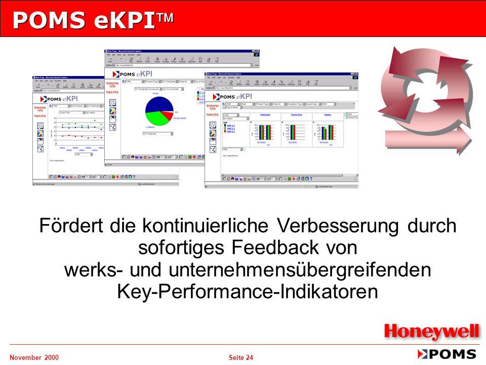 November 2000 Seite 24 POMS eKPI Fördert die kontinuierliche Verbesserung durch sofortiges Feedback von werks- und unternehmensübergreifenden Key-Per