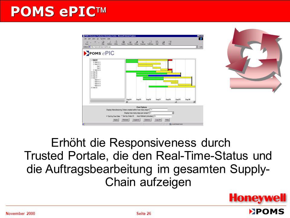 November 2000 Seite 26 POMS ePIC Erhöht die Responsiveness durch Trusted Portale, die den Real-Time-Status und die Auftragsbearbeitung im gesamten Su