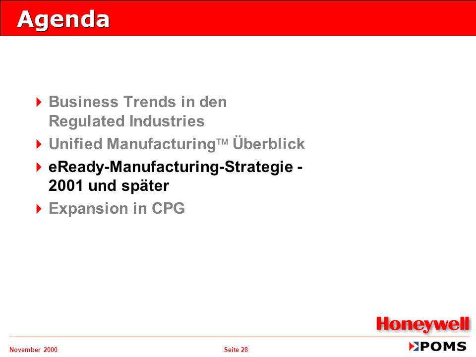 November 2000 Seite 28 Agenda   Business Trends in den Regulated Industries   Unified Manufacturing  Überblick   eReady-Manufacturing-Strategie