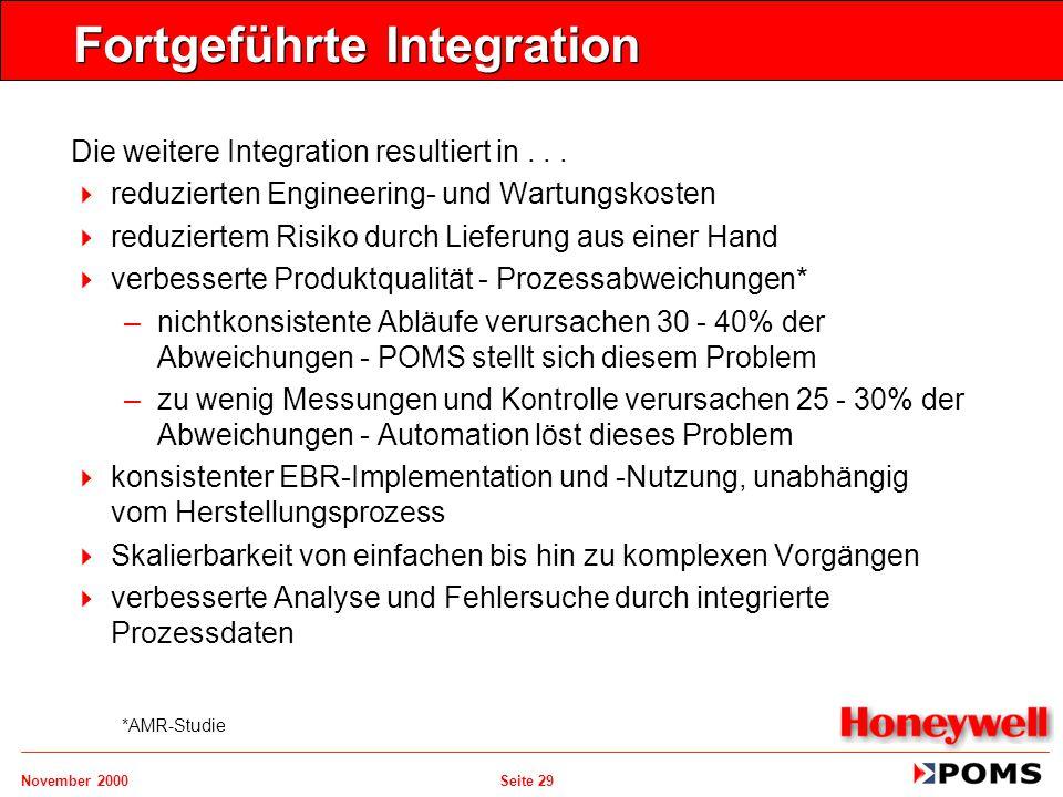 November 2000 Seite 29 Fortgeführte Integration Die weitere Integration resultiert in...   reduzierten Engineering- und Wartungskosten   reduziert