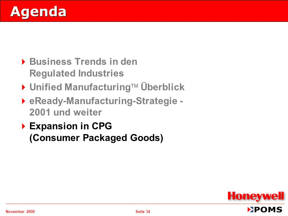 November 2000 Seite 34 Agenda   Business Trends in den Regulated Industries   Unified Manufacturing  Überblick   eReady-Manufacturing-Strategie