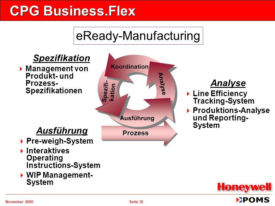 November 2000 Seite 36 CPG Business.Flex Ausführung  Pre-weigh-System  Interaktives Operating Instructions-System  WIP Management- System Spezifika