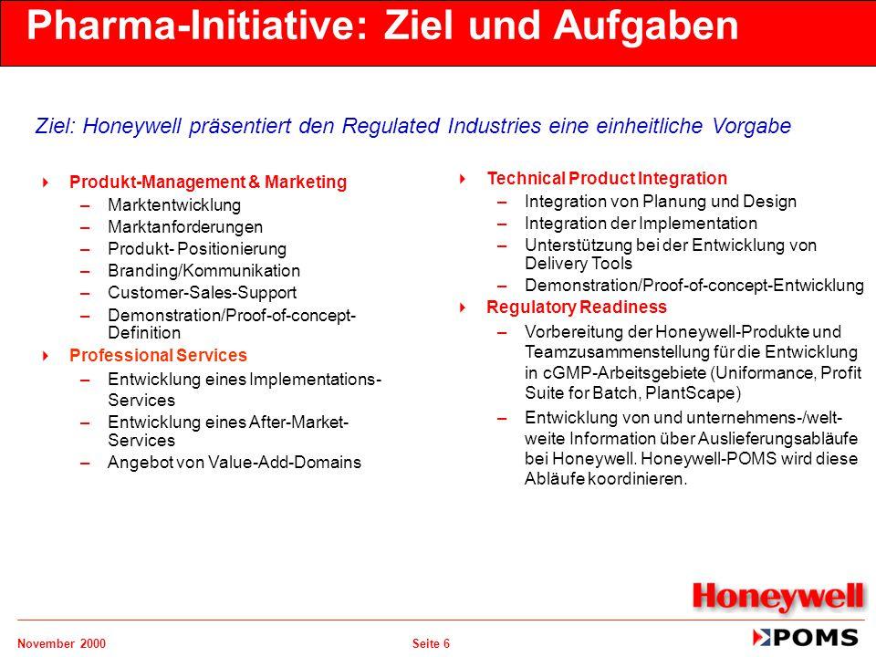November 2000 Seite 6 Pharma-Initiative: Ziel und Aufgaben  Produkt-Management & Marketing –Marktentwicklung –Marktanforderungen –Produkt- Positionie
